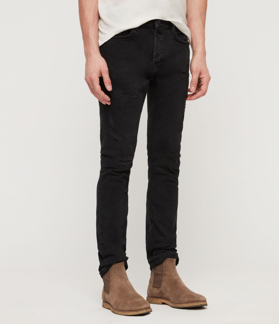 Men's Cigarette Damaged Skinny Jeans, Jet Black (jet_black) - Image 2