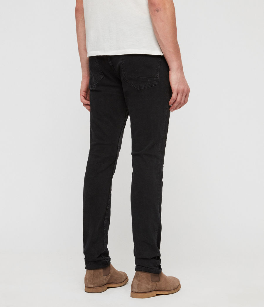 Men's Cigarette Damaged Skinny Jeans, Jet Black (jet_black) - Image 5