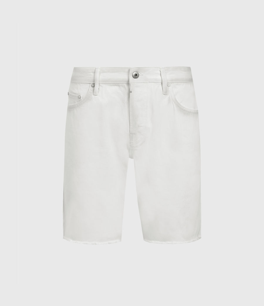 Hombres Switch Damaged Denim Shorts (white) - Image 1