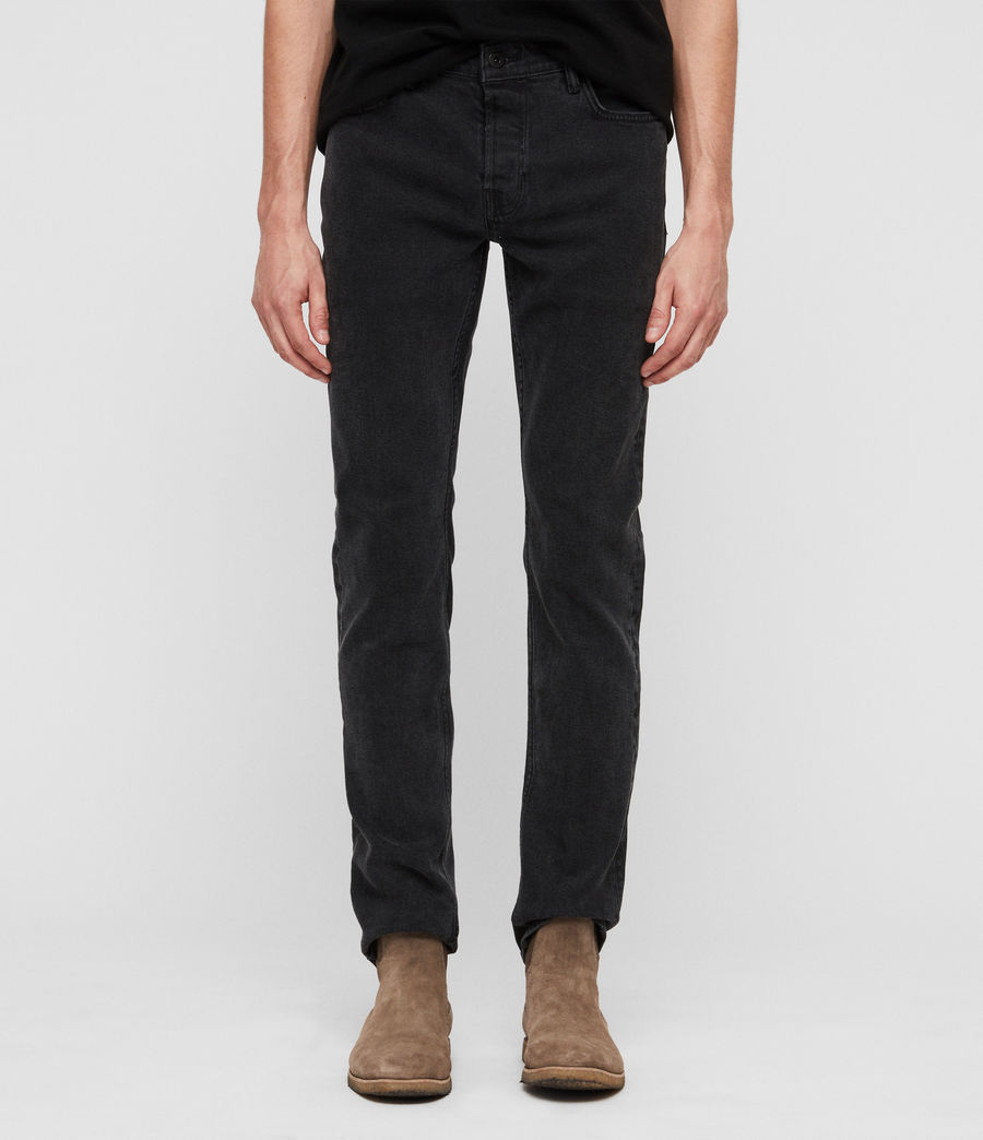 Mens Rex Straight Skinny Jeans (smoke_black) - Image 1