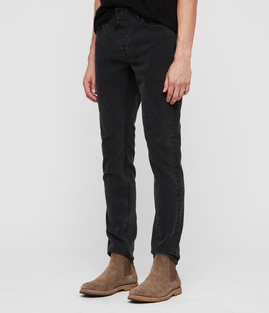 Mens Rex Straight Skinny Jeans (smoke_black) - Image 4