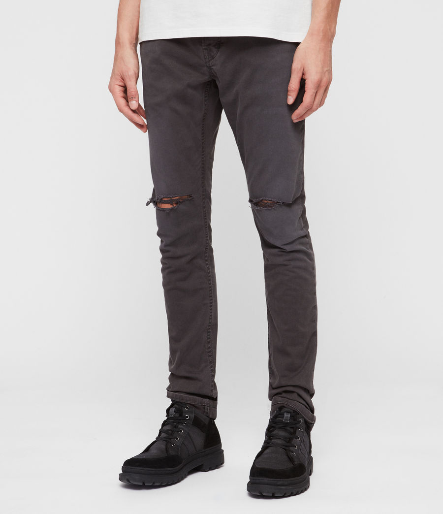 Men's Rex Twill Damaged Slim Jeans, Pewter (pewter) - Image 2
