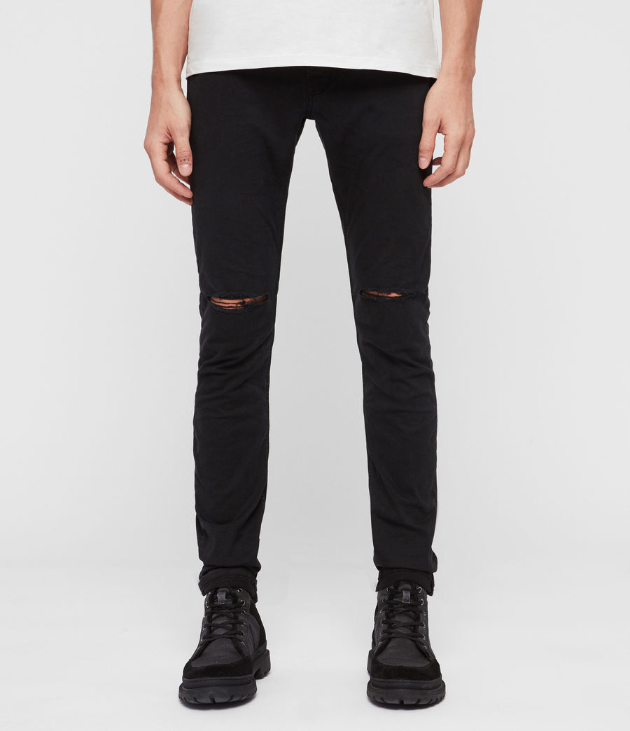 Men's Rex Twill Damaged Slim Jeans, Washed Black (washed_black) - Image 1