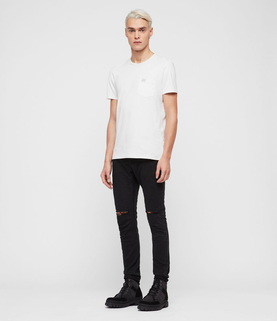 Men's Rex Twill Damaged Slim Jeans, Washed Black (washed_black) - Image 3