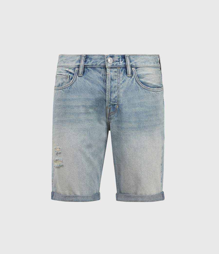 Hombres Switch Damaged Denim Shorts (light_indigo) - Image 1
