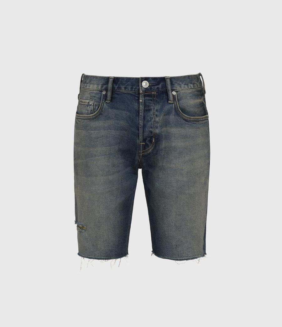 Men's Switch Damaged Denim Shorts (grunge_indigo) - Image 1