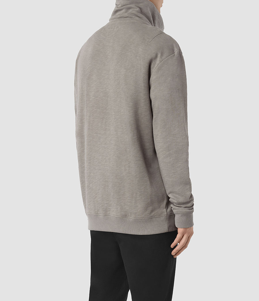 Mens Double Funnel Neck Sweatshirt (putty_brown) - Image 4