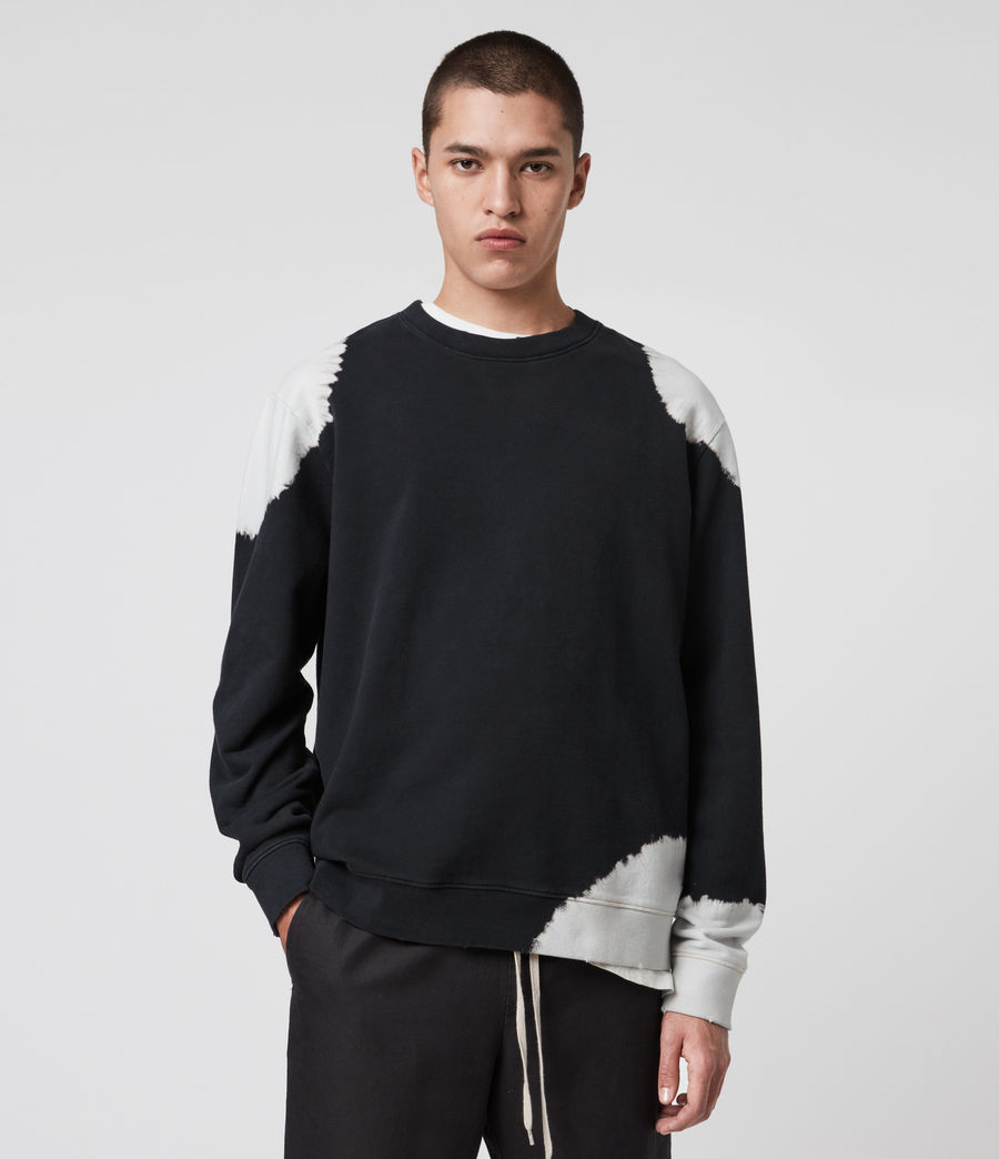 Men's Ovid Crew Sweatshirt (jet_black_white) - Image 1