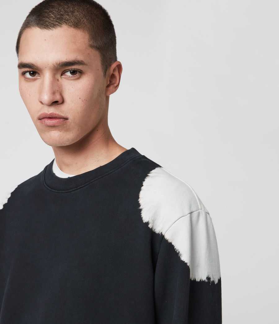 Men's Ovid Crew Sweatshirt (jet_black_white) - Image 2