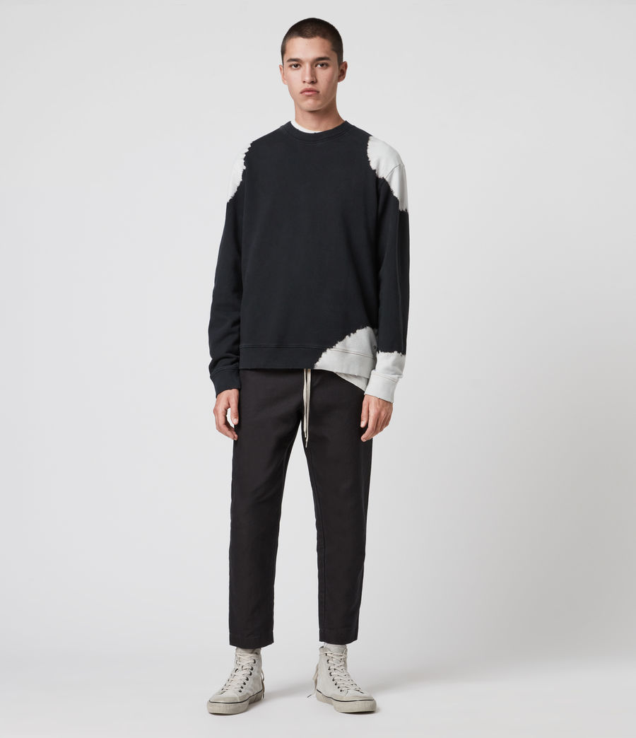 Men's Ovid Crew Sweatshirt (jet_black_white) - Image 3