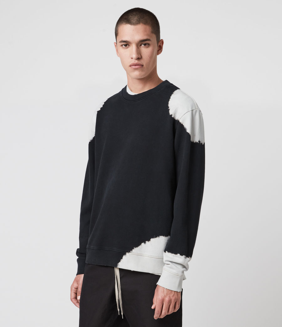 Men's Ovid Crew Sweatshirt (jet_black_white) - Image 4