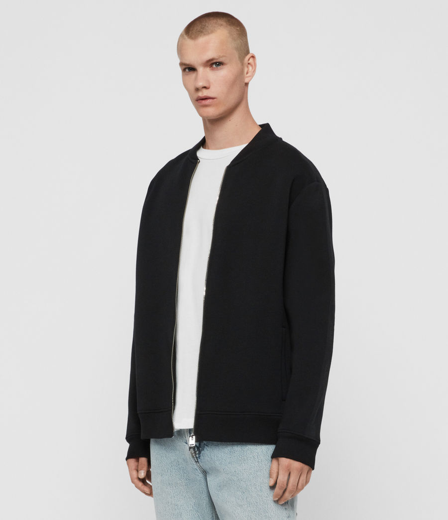 Men's Hayford Sweat Bomber Jacket (black) - Image 4