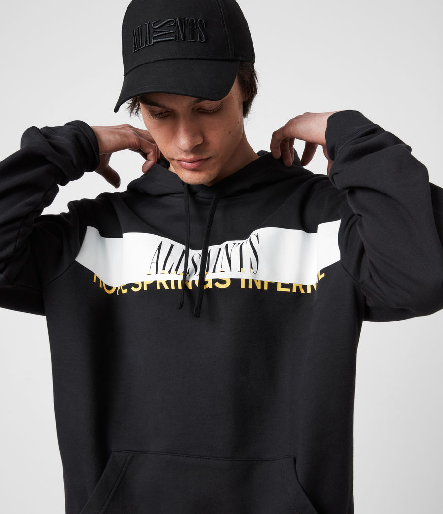 Hommes Feica Pullover Hoodie (black_white_yellow) - Image 4