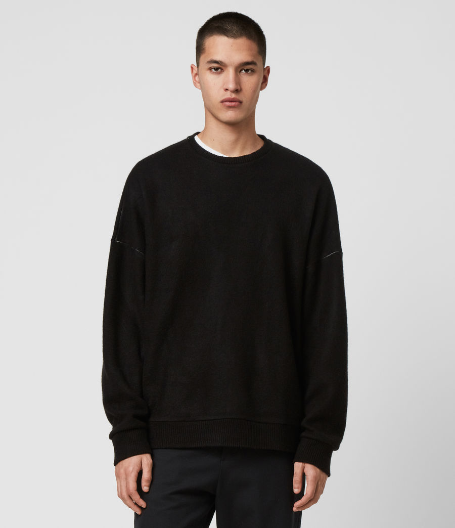 Mens Warren Crew Sweatshirt (black_marl) - Image 1