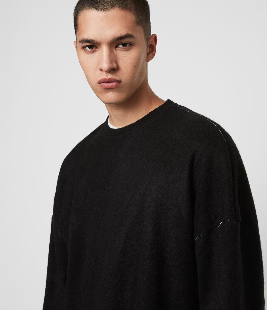 Mens Warren Crew Sweatshirt (black_marl) - Image 2