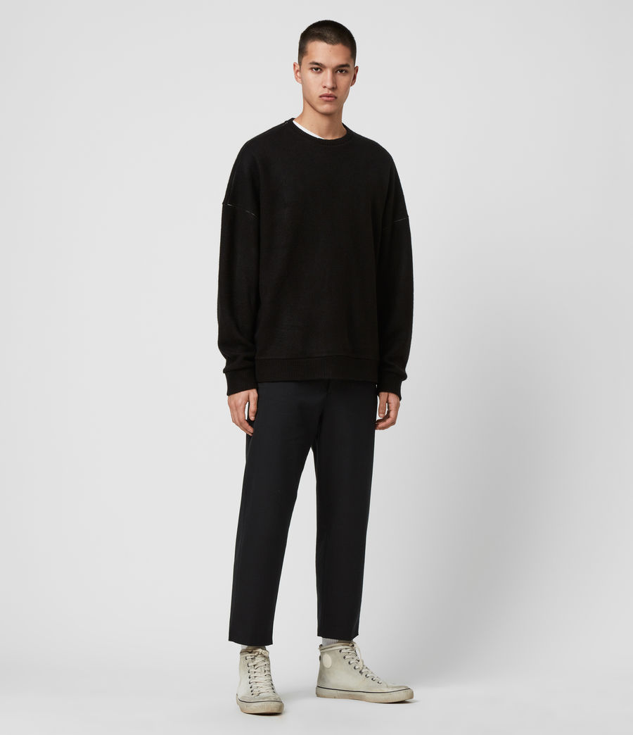Mens Warren Crew Sweatshirt (black_marl) - Image 3