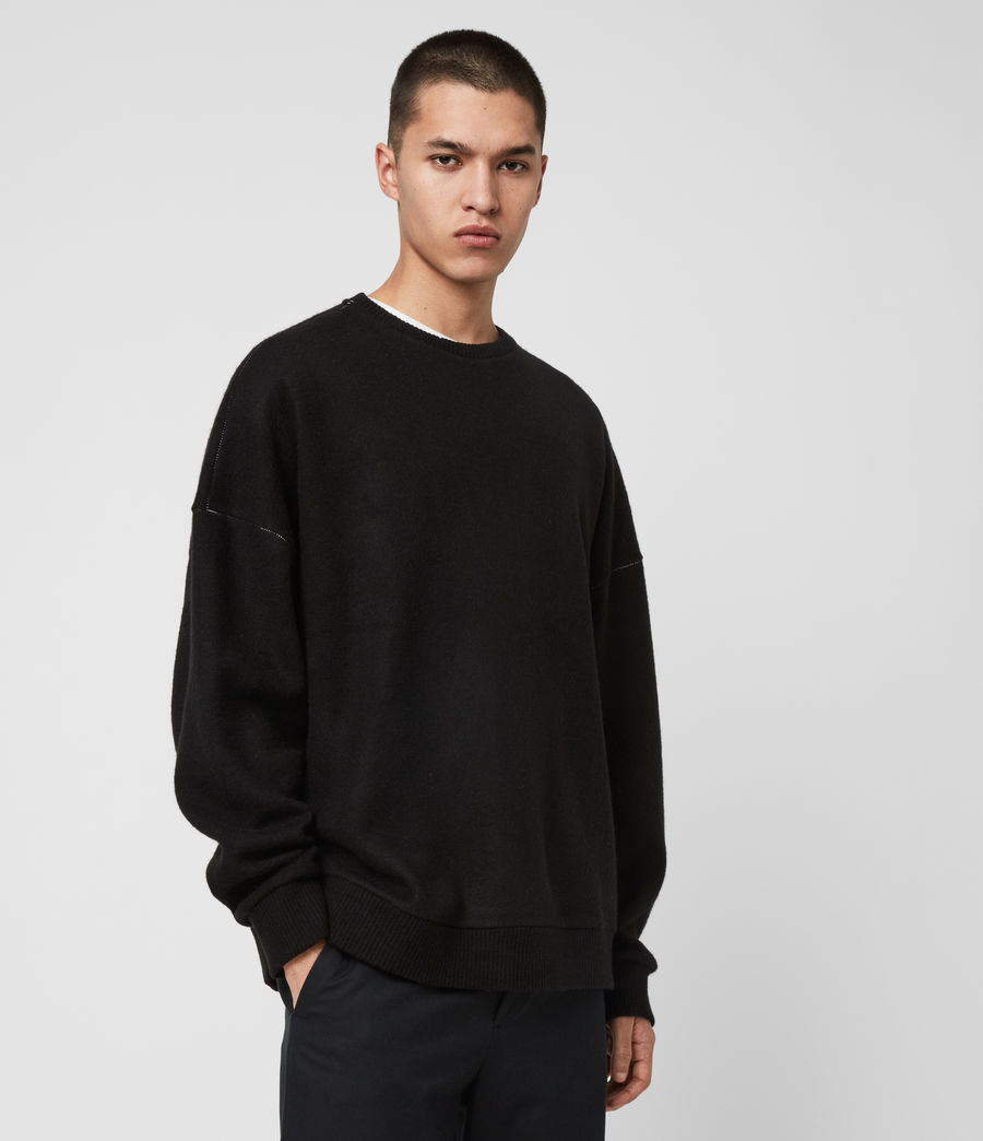 Mens Warren Crew Sweatshirt (black_marl) - Image 4