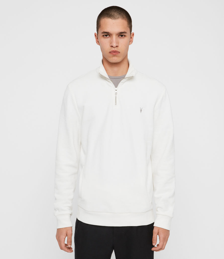 Men's Raven Half Zip Funnel Sweatshirt (chalk_white) - Image 1