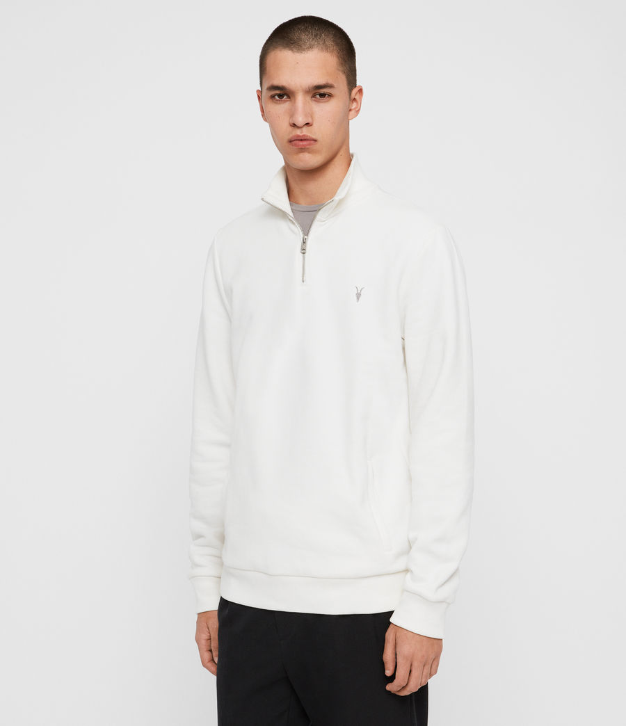 Men's Raven Half Zip Funnel Sweatshirt (chalk_white) - Image 4