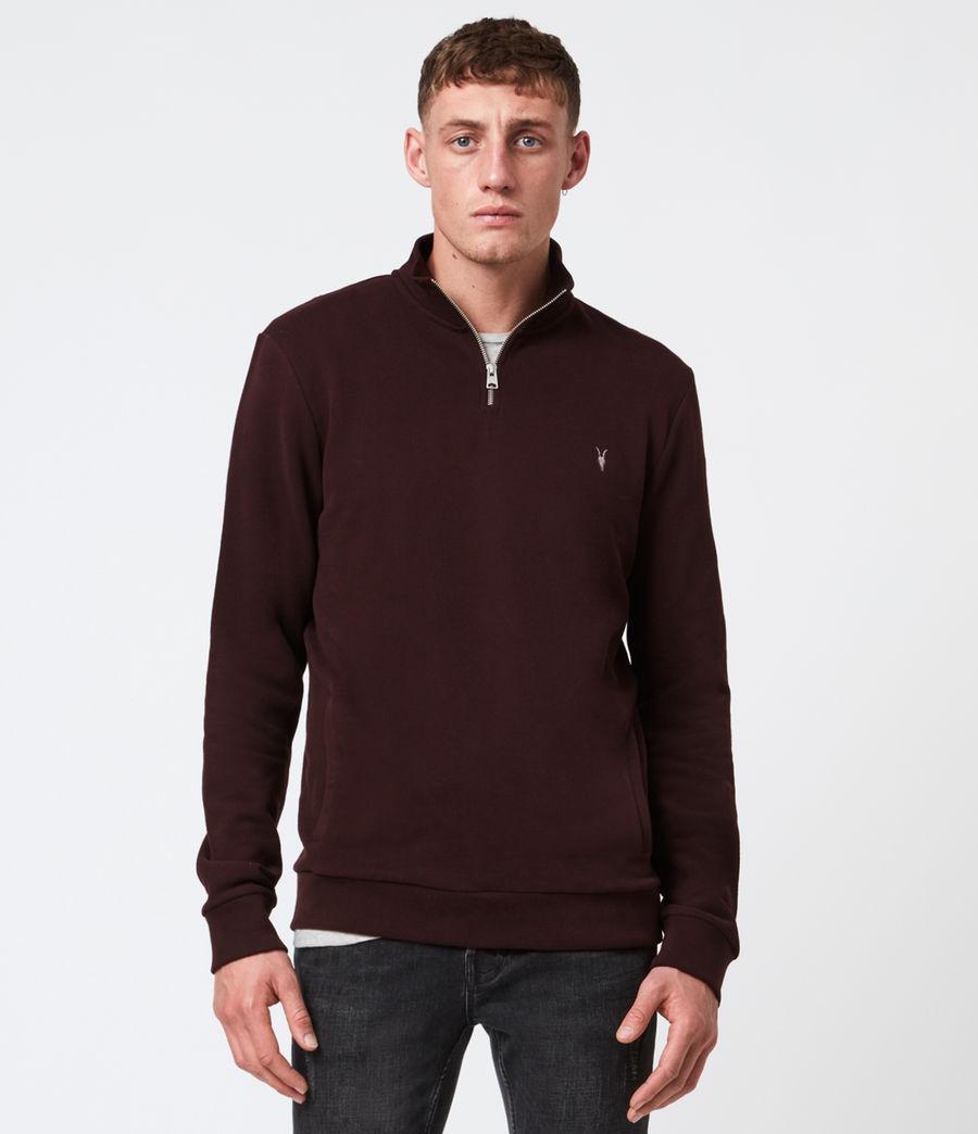 Hommes Raven Half Zip Funnel Neck Sweatshirt (oxblood_red) - Image 1