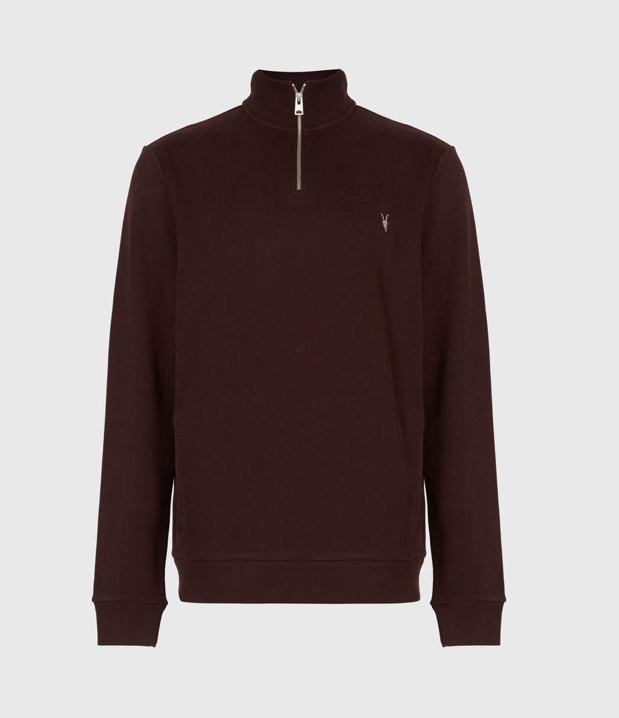 Hommes Raven Half Zip Funnel Neck Sweatshirt (oxblood_red) - Image 2