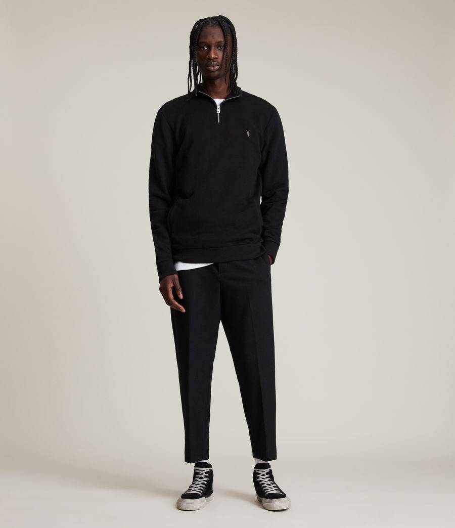 Men's Raven Half Zip Funnel Sweatshirt (jet_black) - Image 3