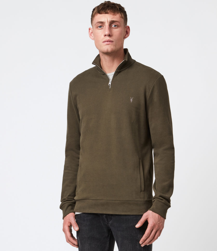 Hommes Raven Half Zip Funnel Neck Sweatshirt (seaweed_green) - Image 1