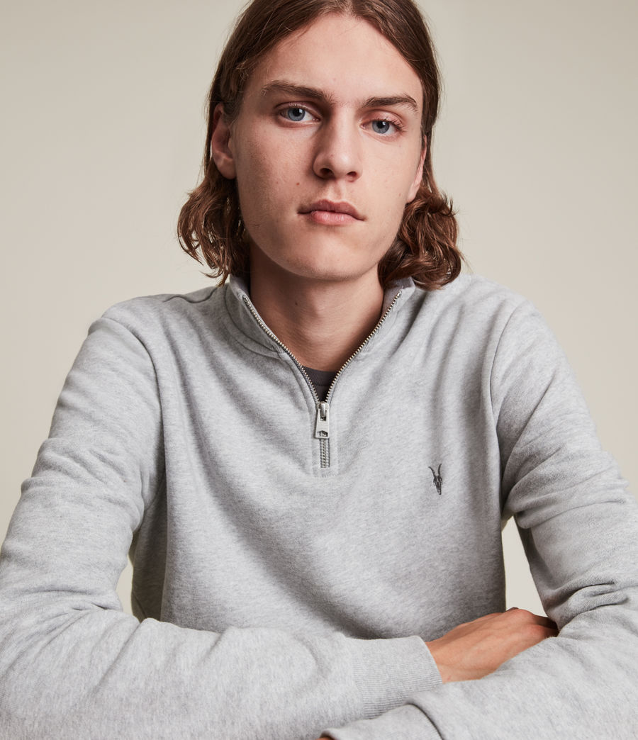 Men's Raven Half Zip Funnel Neck Sweatshirt (grey_marl) - Image 2