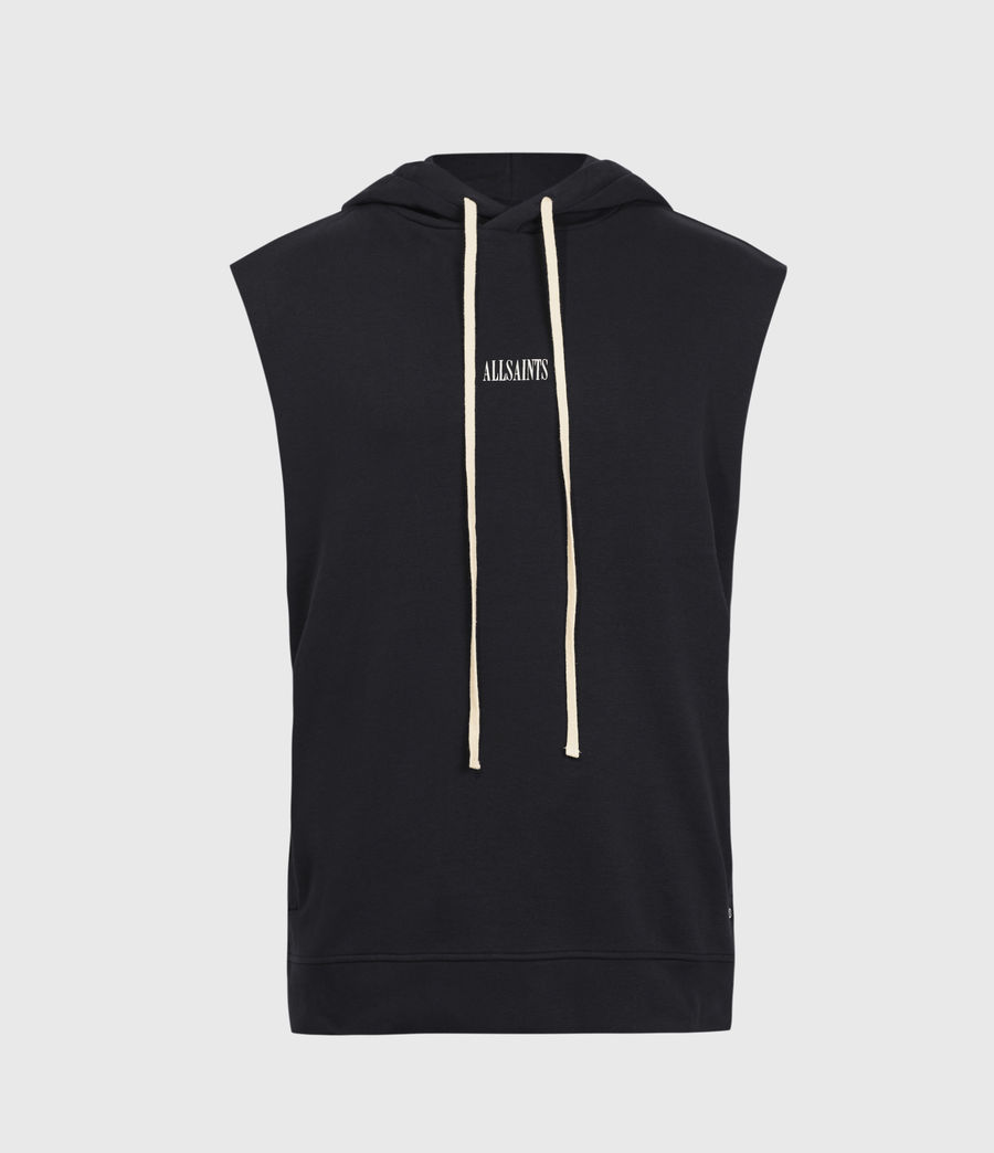 Hombres State Sleeveless Hoodie (jet_black) - Image 1