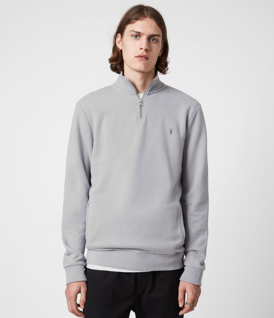 Herren Raven Reißverschluss Kragen Sweatshirt (heath_grey) - Image 1