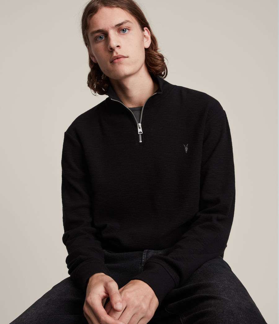 Herren Muse Half Zip Funnel Neck Sweatshirt (jet_black) - Image 2