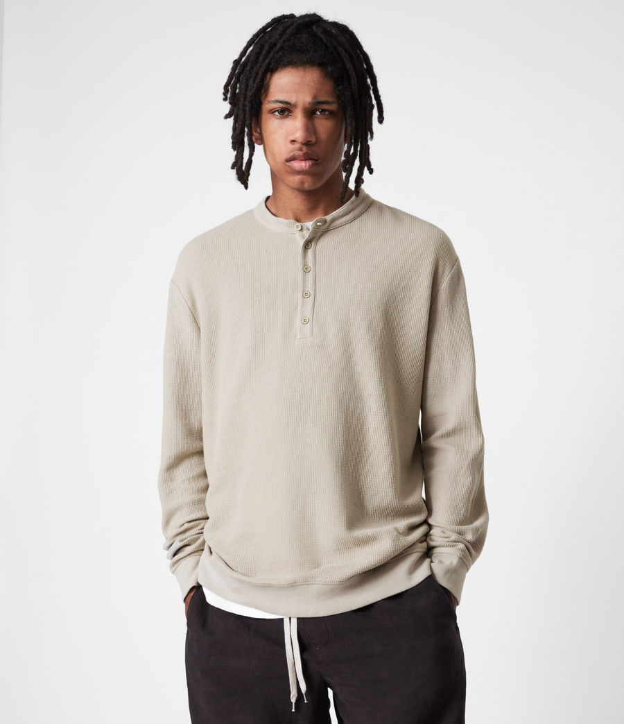 Mens Wrenley Organic Cotton Henley (corazone_taupe) - Image 1