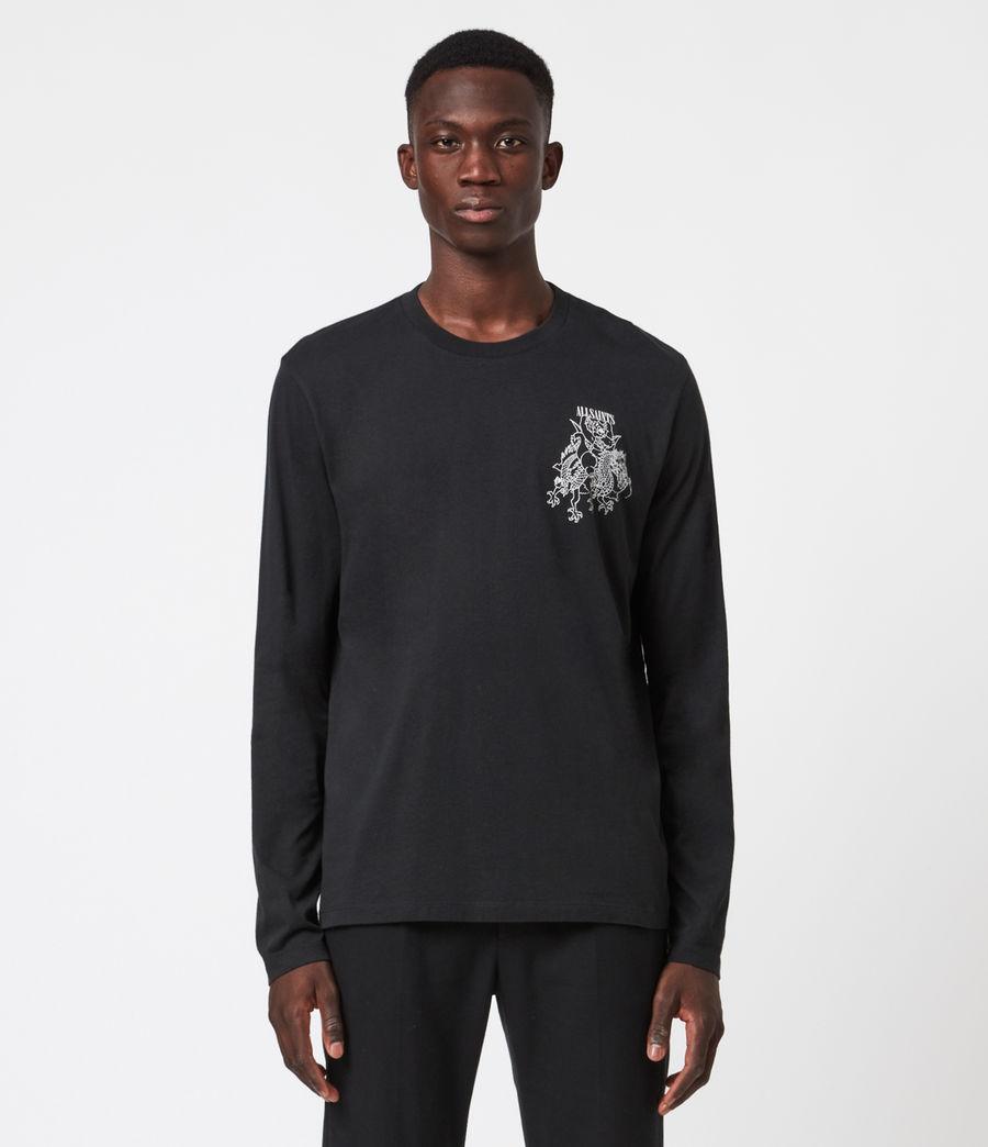 Men's Joyride Long Sleeve Crew T-Shirt (jet_blk_optic_wht) - Image 1