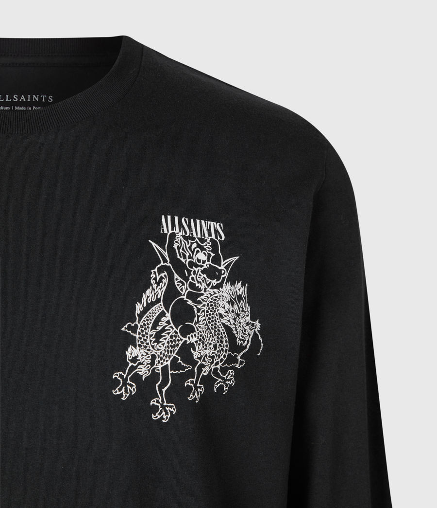 Men's Joyride Long Sleeve Crew T-Shirt (jet_blk_optic_wht) - Image 5