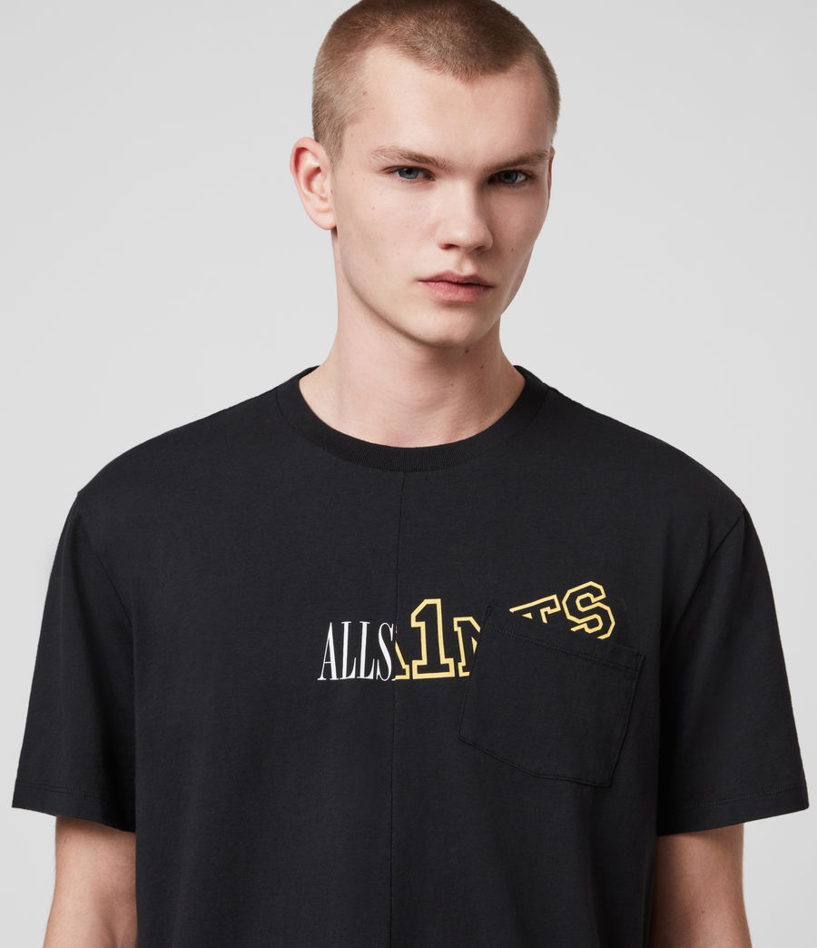 Mens College Patch Crew T-Shirt (jet_black) - Image 2