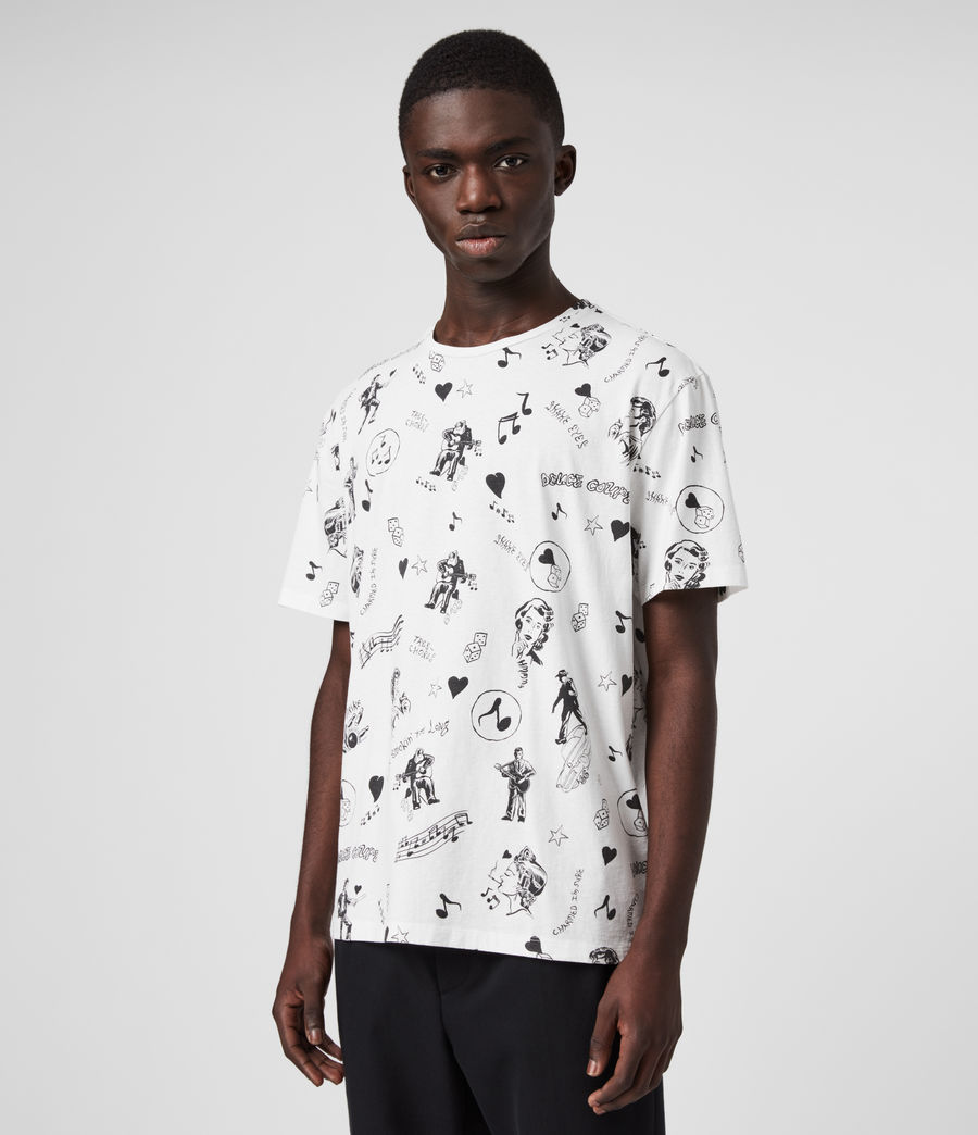 Mens Tres Chordos Crew T-Shirt (chalk_white) - Image 4