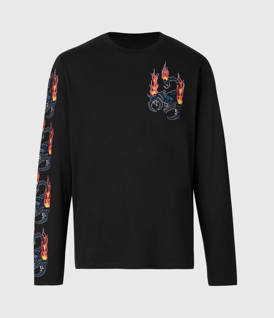Mens Stinger Long Sleeve Crew T-Shirt (jet_black) - Image 3