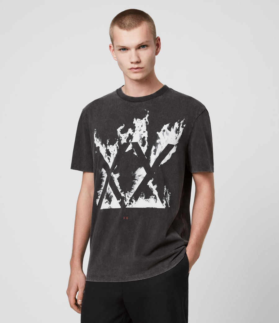Mens Burn Crew T-Shirt (vintage_black) - Image 3