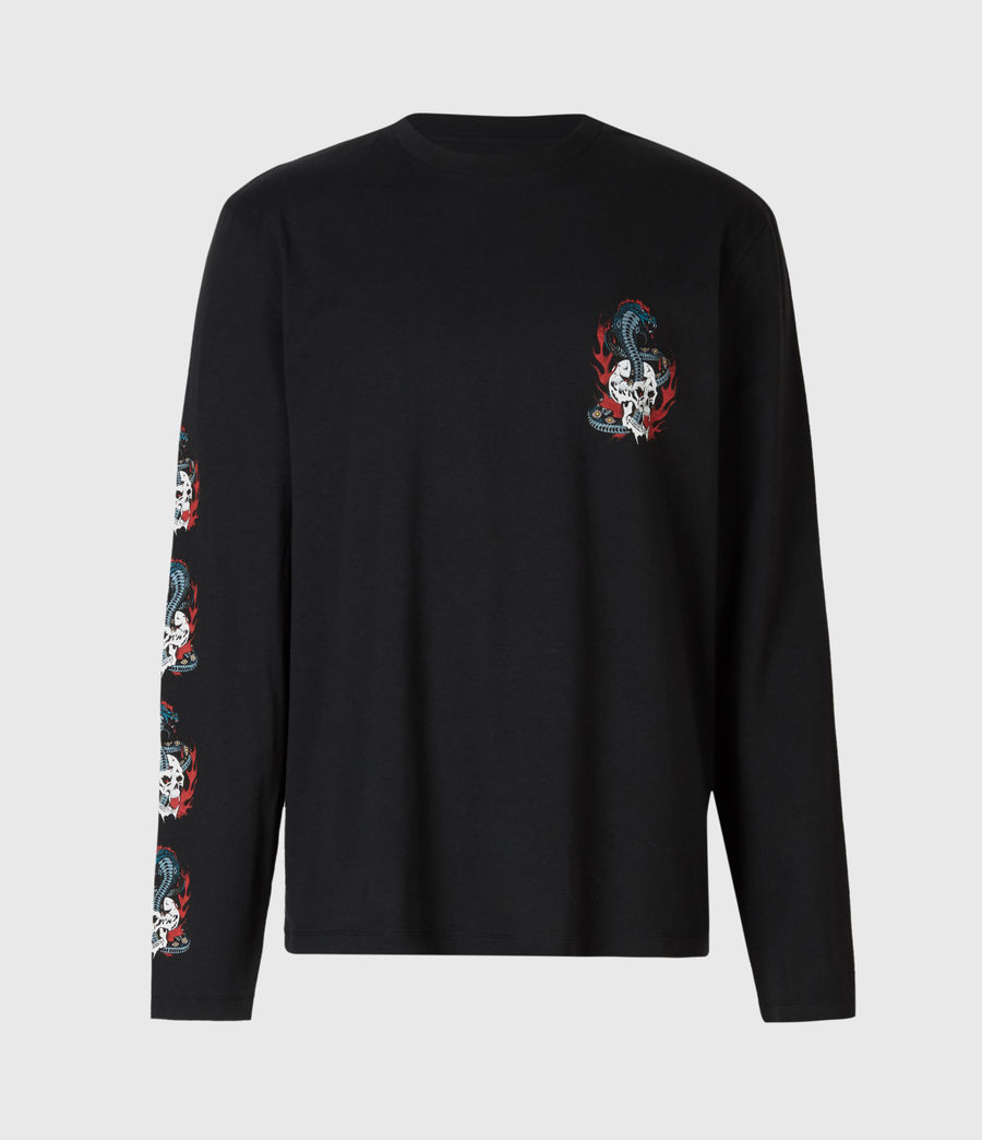 Mens Viper Long Sleeve Crew T-Shirt (jet_black) - Image 3