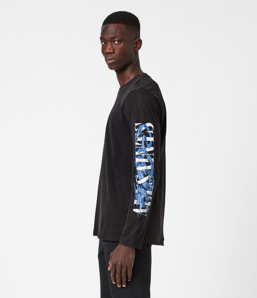 Mens Draco Long Sleeve Crew T-Shirt (vintage_black) - Image 4