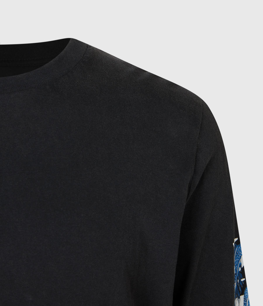 Mens Draco Long Sleeve Crew T-Shirt (vintage_black) - Image 5