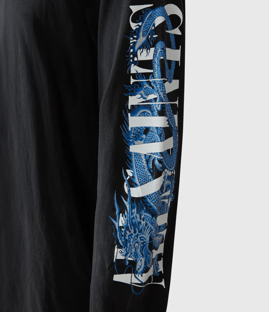 Herren Draco Long Sleeve Crew T-Shirt (vintage_black) - Image 6