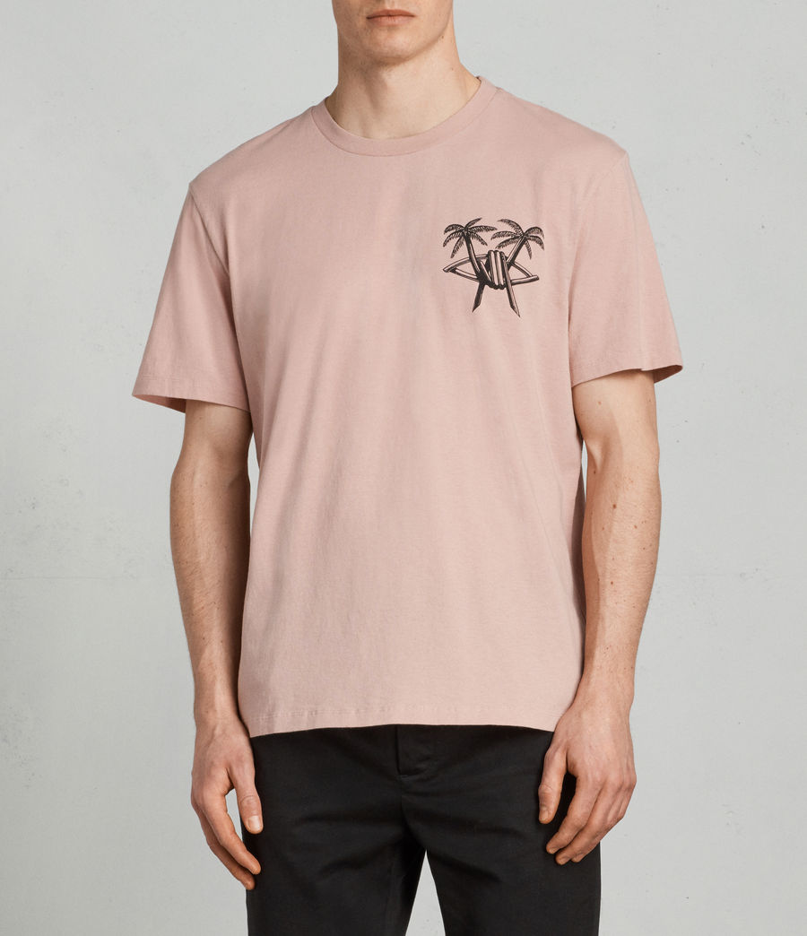 Mens Barbed Palm Crew T-Shirt (crepe_pink) - Image 1