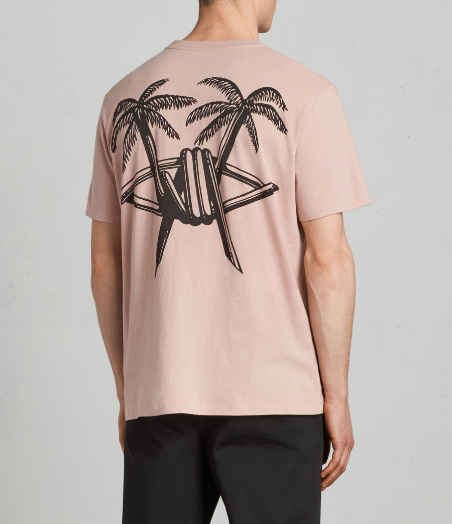Mens Barbed Palm Crew T-Shirt (crepe_pink) - Image 2
