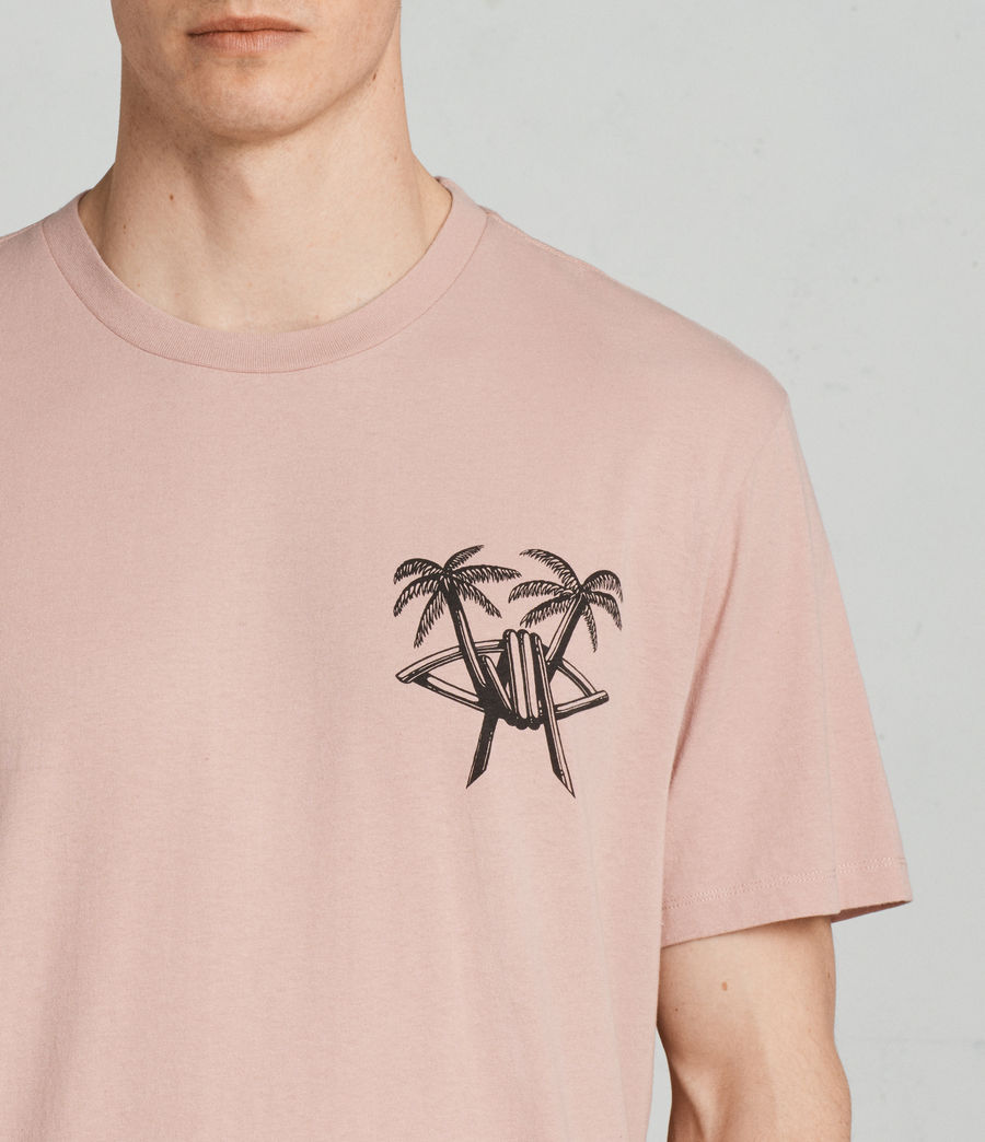Mens Barbed Palm Crew T-Shirt (crepe_pink) - Image 3