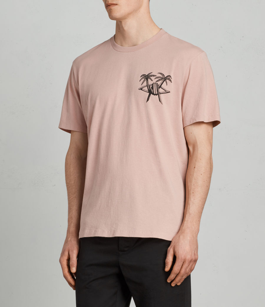 Mens Barbed Palm Crew T-Shirt (crepe_pink) - Image 4