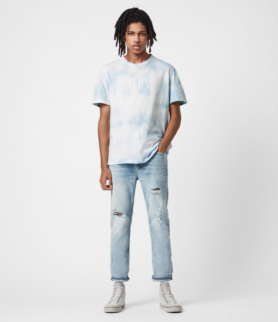 Mens Dropout Tie Dye Crew T-Shirt (optic_white) - Image 4