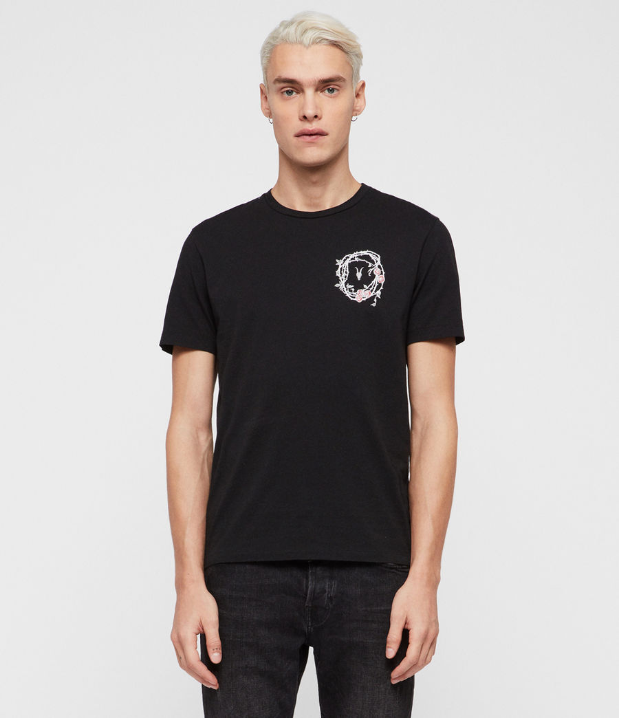 Mens Rose Skull Crew T-Shirt (jet_black_chalk) - Image 1