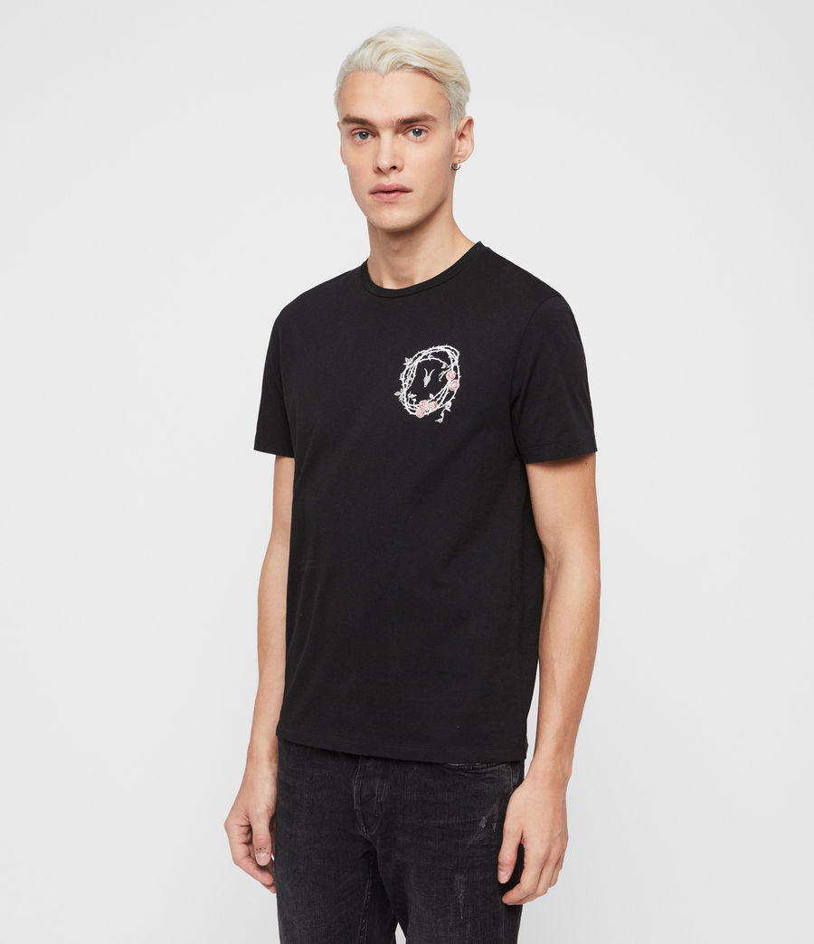 Mens Rose Skull Crew T-Shirt (jet_black_chalk) - Image 3