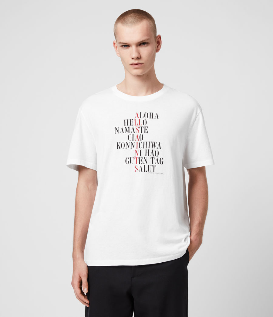 Uomo T-shirt Greetings - In cotone con grafica (optic_white) - Image 1